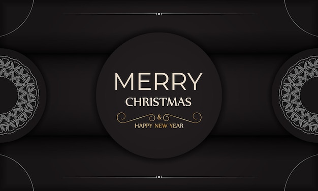 Cartaz feliz natal e feliz ano novo em preto com enfeites brancos.