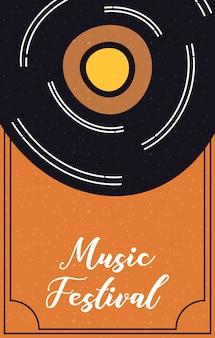 Cartaz fest de música com disco de vinil