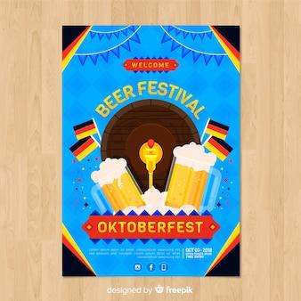 Cartaz festa linda oktoberfest com design plano