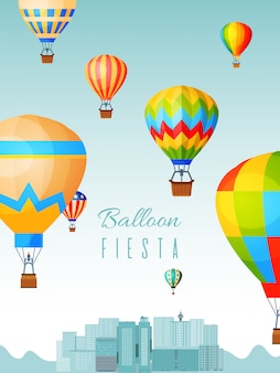 Cartaz festival de balão, passeios de bola de ar quente, ilustração plana. viajar pela paisagem da cidade, celebração de aeronauta de banner de conceito de design.