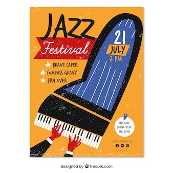 Cartaz festival de jazz com piano desenhado a mão