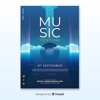 Cartaz festival de música com ilustração gradiente