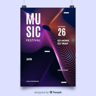 Cartaz festival de música com ondas abstratas coloridas