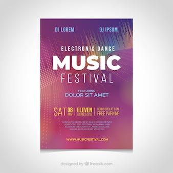 Cartaz festival de música em estilo abstrato