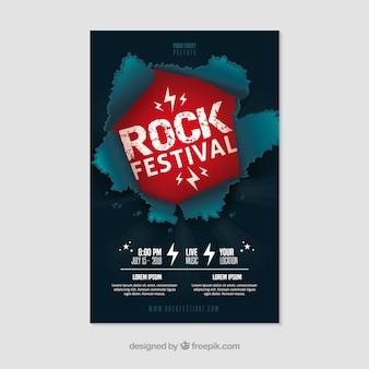Cartaz festival de rock com design plano