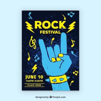 Cartaz festival de rock com estilo mão desenhada