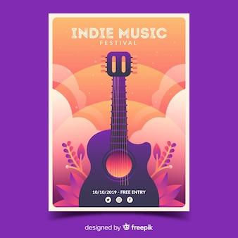 Cartaz festival indie com ilustração gradiente