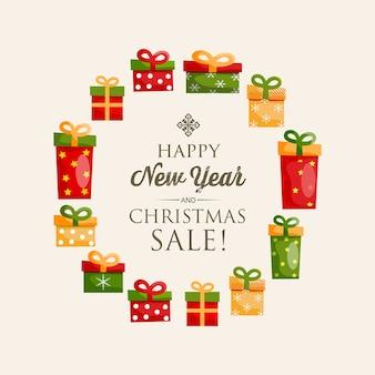 Cartaz festivo de feliz ano novo com inscrição caligráfica e caixas de presentes coloridas em forma de ilustração redonda