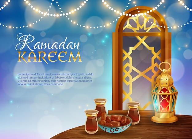 Cartaz festivo tradicional do alimento de ramadan kareem