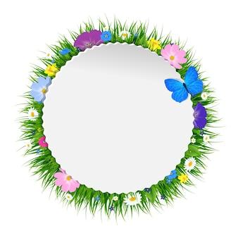Cartaz floral de primavera com malha gradiente, ilustração