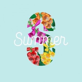 Cartaz floral de verão com flores tropicais