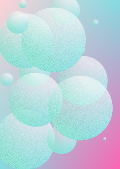 Cartaz fluido com formas redondas e textura de pontos de meio-tom. círculos de gradiente no fundo holográfico. modelo moderno para capas, banners, folhetos, apresentações. cartaz de fluido mínimo em cores neon.