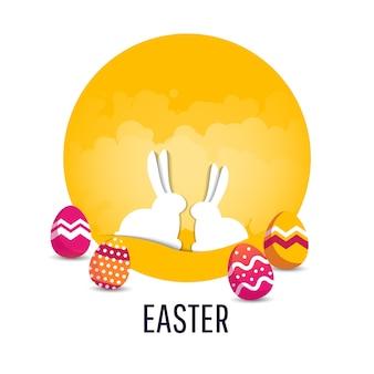 Cartaz fofo de vetor para ovo de páscoa