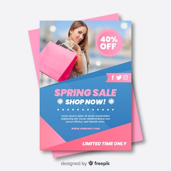 Cartaz fotográfico de venda de primavera