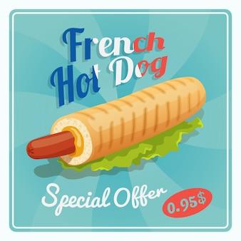 Cartaz francês do cachorro quente
