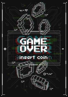 Cartaz futurista com elementos de jogos retro. game over screen com estilo de realidade virtual. modelo para impressão e web.