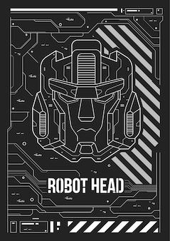 Cartaz futurista com uma cabeça de robô.