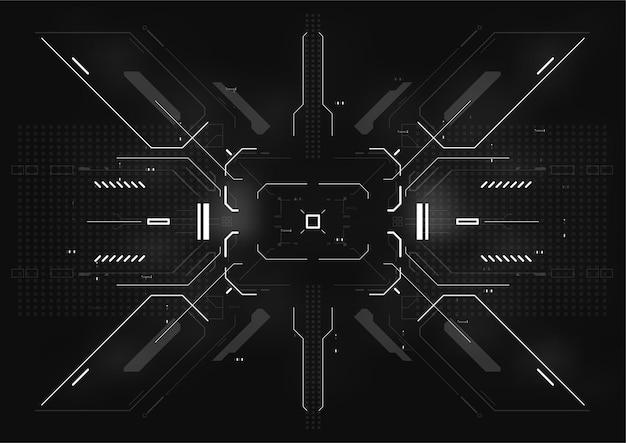 Cartaz futurista cyberpunk. modelo de cartaz abstrato de tecnologia com elementos de hud.