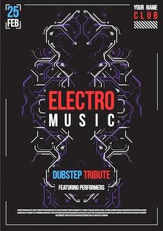 Cartaz futurista de cyberpunk. modelo de cartaz futurista retrô. layout de música eletrônica. panfleto de festa clube moderno.