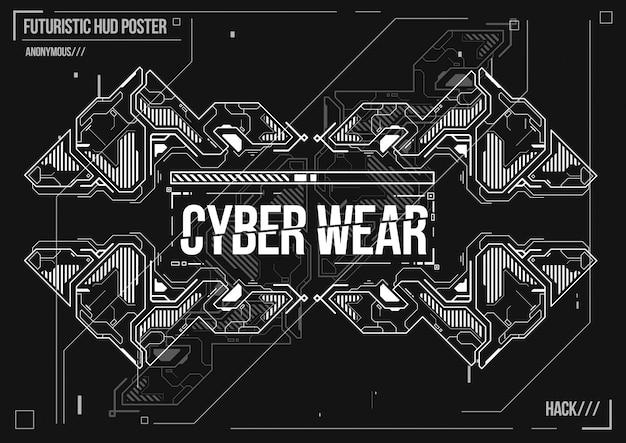 Cartaz futurista de cyberpunk. modelo de cartaz futurista retrô. layout de música eletrônica.