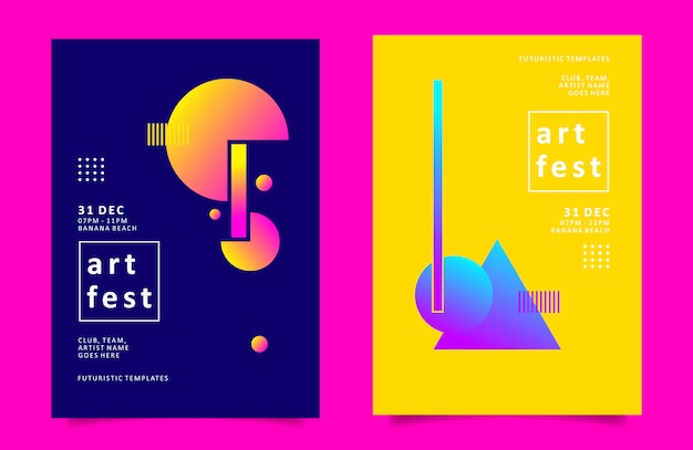 Cartaz geométrico colorido exclusivo ou modelo de panfleto para festival de arte