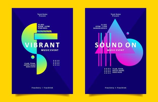 Cartaz geométrico colorido ou modelo de folheto para música e evento