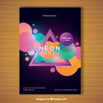 Cartaz geométrico do partido com estilo neon