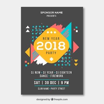 Cartaz geométrico do partido de ano novo colorido