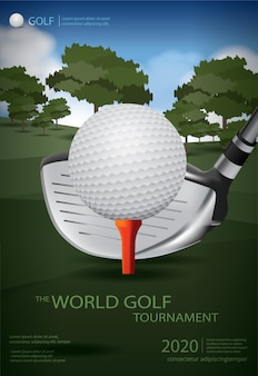 Cartaz golf champion poster template