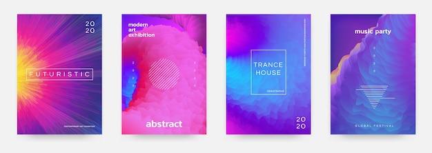 Cartaz gradiente abstrato. folheto de evento musical com cores vibrantes e formas geométricas mínimas. textura de espaço de cores de modelo de design de título moderno de imagem vetorial para ilustração de fundo ou capa
