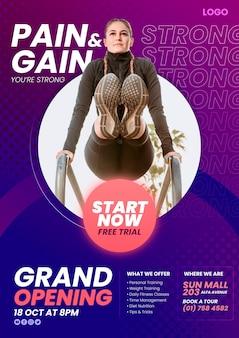 Cartaz gradiente do clube de fitness com modelo de foto