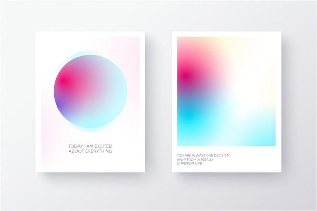 Cartaz gradiente moderno multicolor brilhante ou design de cartão com círculos