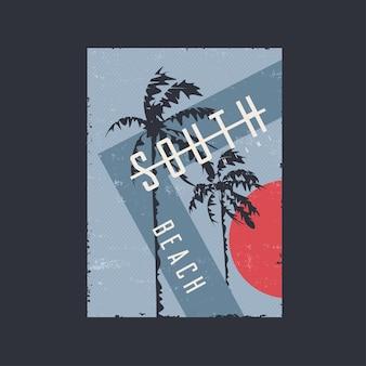 Cartaz gráfico com impressão de design de camiseta sobre o tema ilustração vetorial de miami beach florida