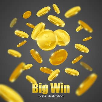 Cartaz grande do fundo da propaganda das moedas de ouro da vitória