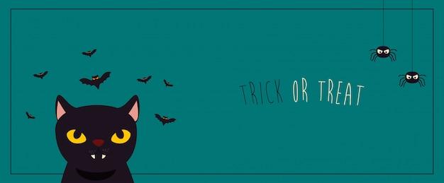 Cartaz halloween com gato preto e morcegos voando