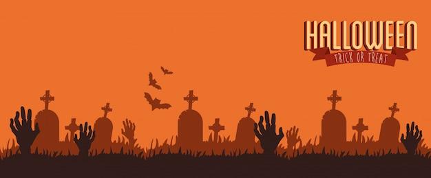 Cartaz halloween com zumbi de mãos no cemitério