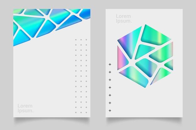 Cartaz holográfico futurista com malha de gradiente