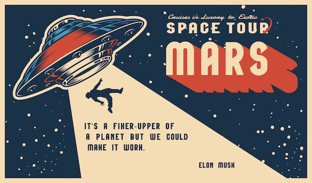 Cartaz horizontal colorido vintage de espaço