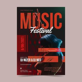 Cartaz ilustrado festival de música com foto
