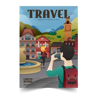 Cartaz ilustrado para amantes de viagens com detalhes