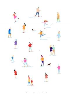 Cartaz ilustrado pessoas em uma caminhada de inverno
