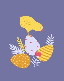 Cartaz, impressão, cartão ou banner de páscoa feliz com ovos pintados, frango, flores da primavera e plantas. ilustração em vetor mão desenhada.