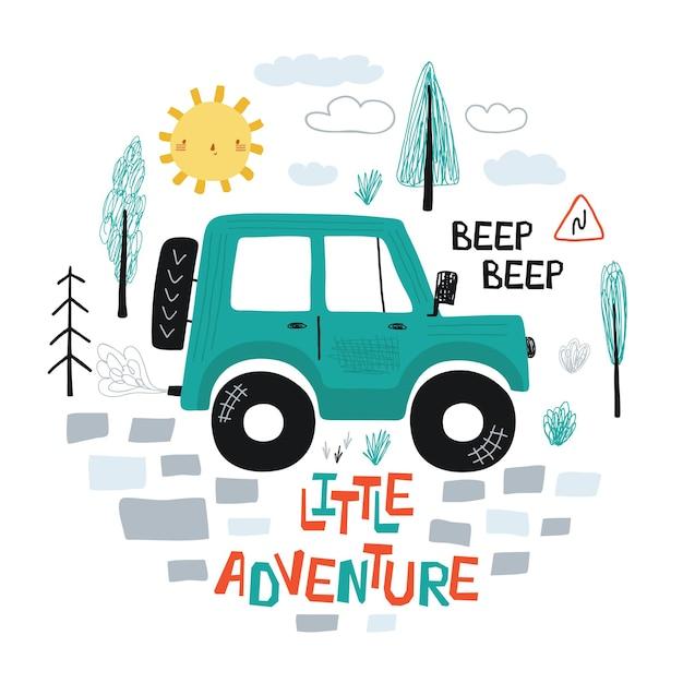 Cartaz infantil com carro fora da estrada e letras