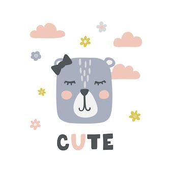 Cartaz infantil com menina urso bonito.