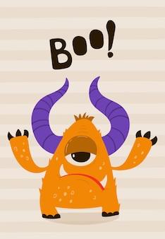 Cartaz infantil com monstro engraçado em estilo cartoon