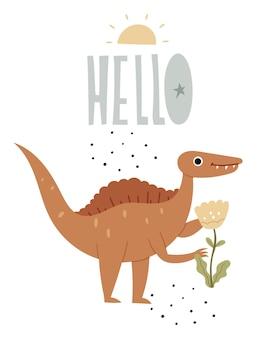 Cartaz infantil com um espinossauro ilustração em livro fofa de um dinossauro répteis jurássicos olá l