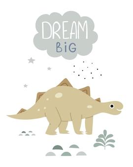 Cartaz infantil com um talaro ilustração em livro fofa de um dinossauro letras grandes dos sonhosjurássico