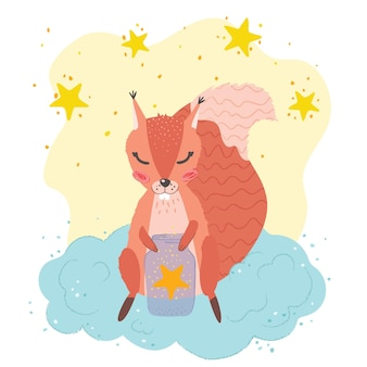Cartaz infantil fofo: esquilo em uma nuvem, pequenas estrelas. ilustração em vetor mão desenhada. cartaz do berçário.