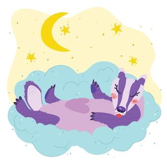 Cartaz infantil fofo: texugo dormindo em uma nuvem, pequenas estrelas, lua, lua crescente. ilustração em vetor mão desenhada. cartaz do berçário.
