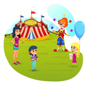 Cartaz informativo circus performance cartoon.